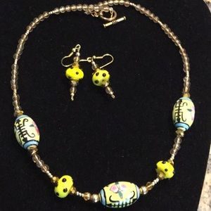 """Yellow necklace and earrings 21"""""""